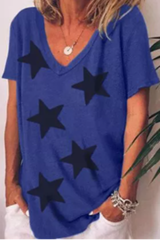 V-neck star print T-shirt