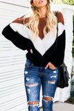 Casual Color-Block Patchwork Sweater
