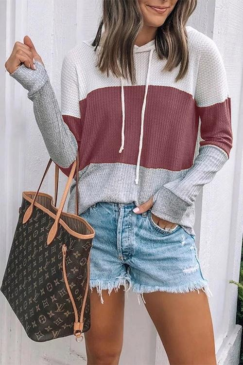 Hooded Collar Color Block Hoodie