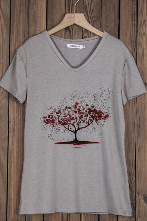Loose v-neck printed T-shirt