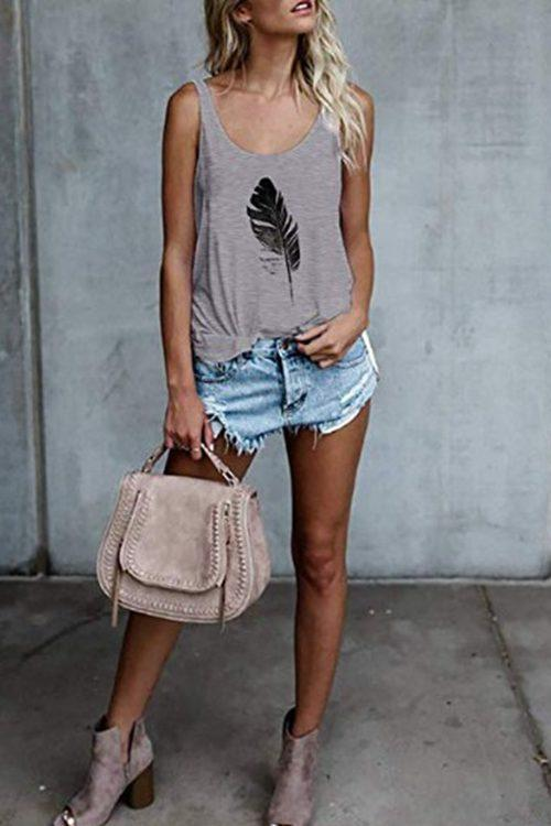 Feather print vest for ladies