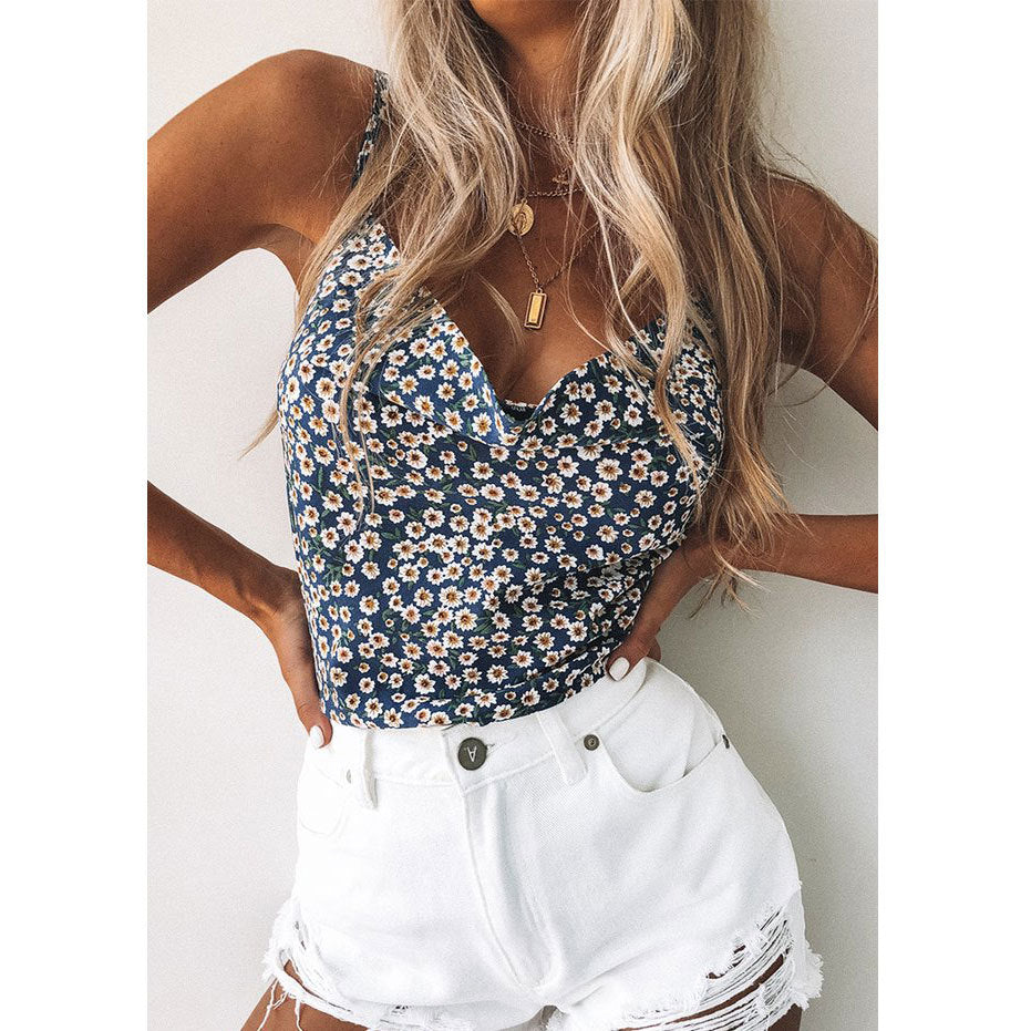 2020 Cross-border wish Europe and the United States solid suspenders small vest bottom simulation silk chiffon shirt top female summe