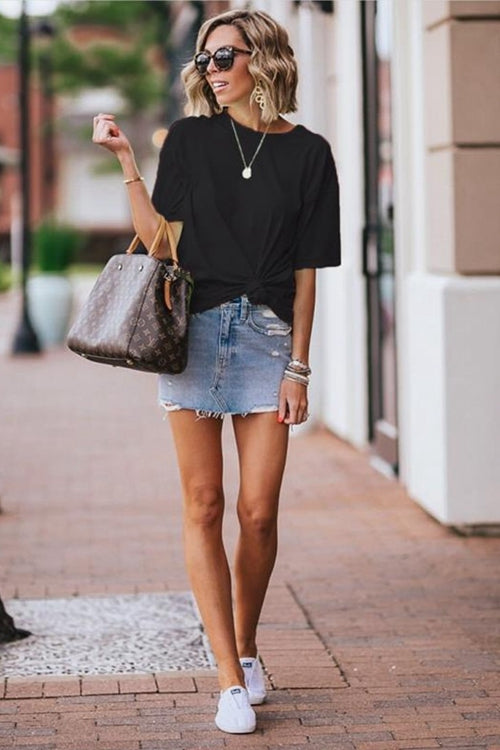 Casual simple round neck T-shirt