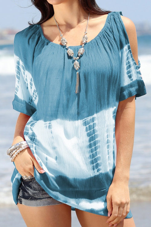Crew Neck Cold Shoulder Tie-dyed Shift T-shirts