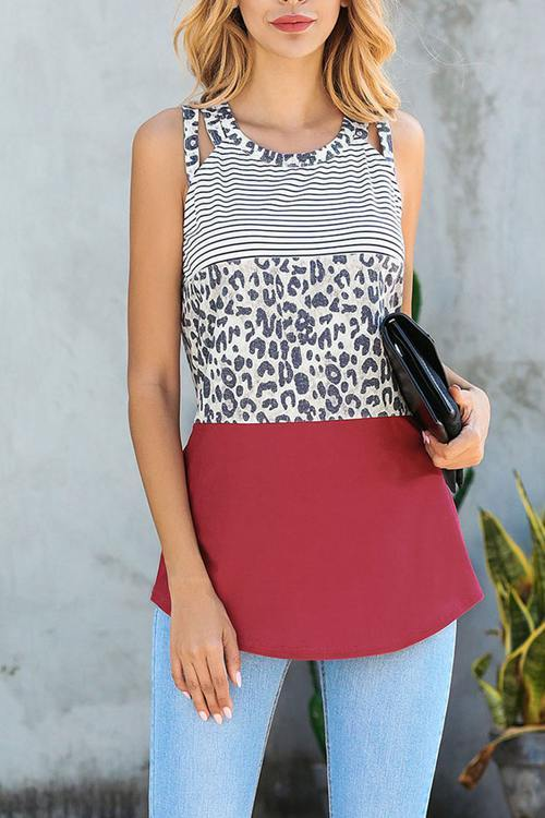 Leopard Print Patchwork Top