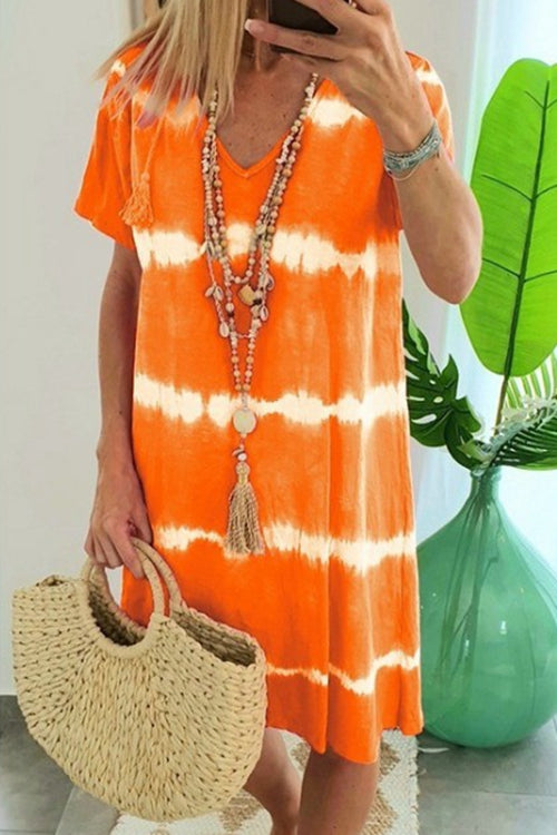 V-neck tie-dye print dress