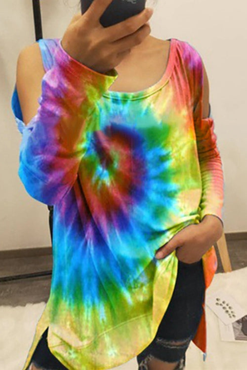Tie-Dye Off-The-Shoulder Long Sleeve T-Shirt