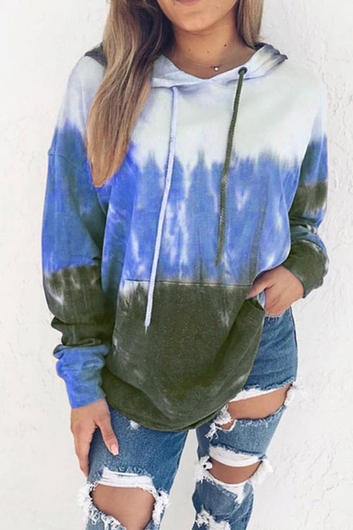 Gradient Long Sleeve Loose Hat T-Shirt