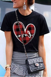 Heart Printed Round Neck T-Shirt