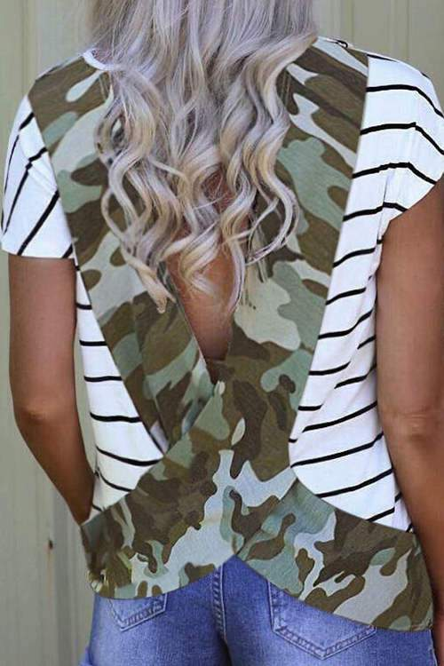 Camouflage Leopard Print Casual Short Sleeves T-Shirt