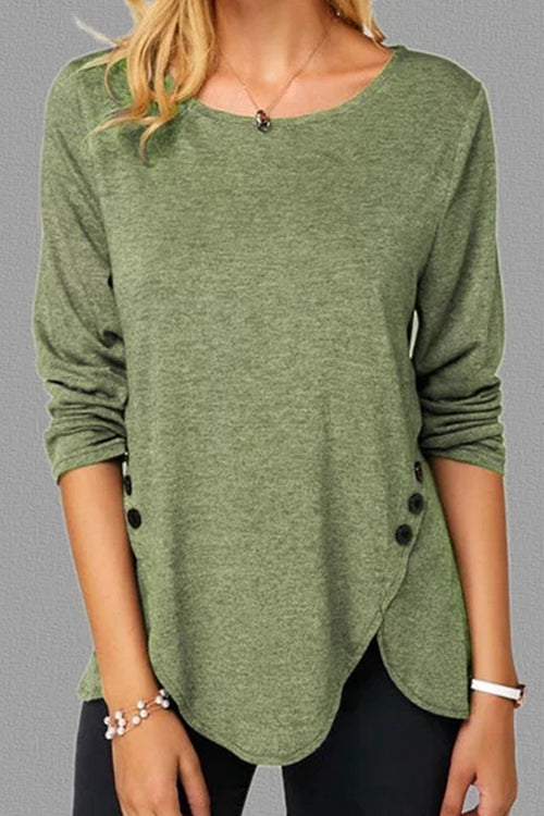 Round collar button Long sleeve T-shirt