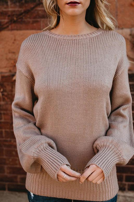 Round Neck Pullover Knit Loose Bow Tie Sweater