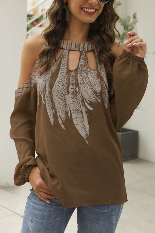 Print Cold Shoulder Cutout Elegant T-shirts