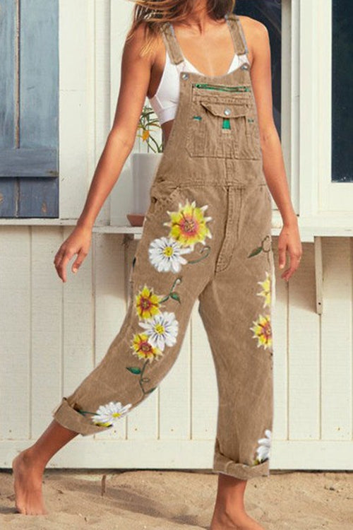 FASHION PRINT VEST JEANS JUMPSUITS