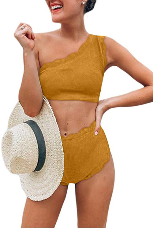 One shoulder solid high waist bikini