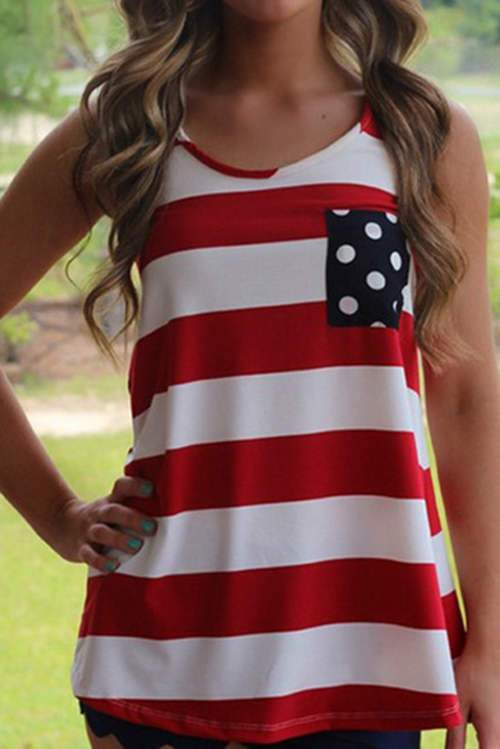 Striped Wave Point Pocket Back Bow Tank Top
