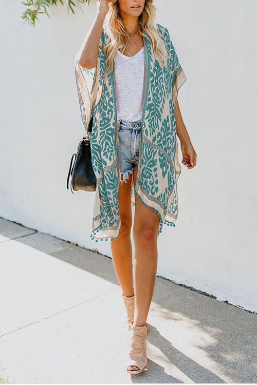 Short sleeve printed Beach Cover Up