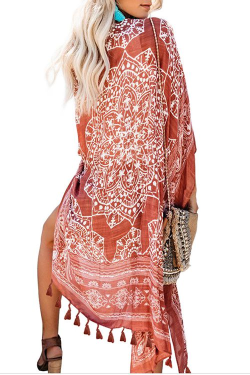 Printed tassel Medium Long Beach Cover Up