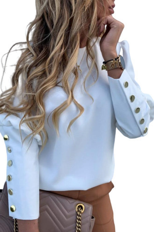 round collar and metal button Long sleeve shirt