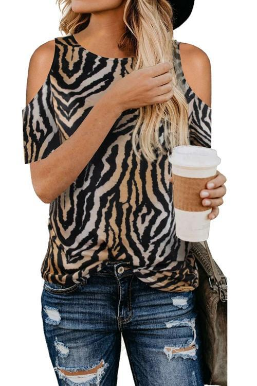 Leopard Print Off The Shoulder T Shirt