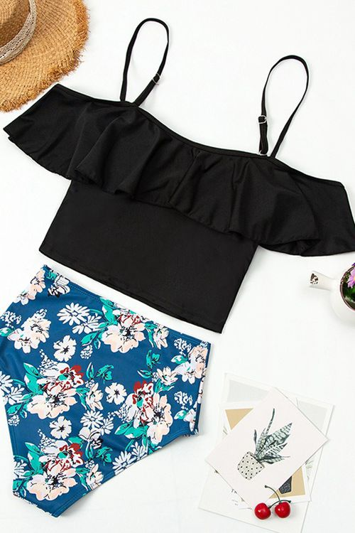 Off Shoulder Patchwork Two-Piece Swimsuit