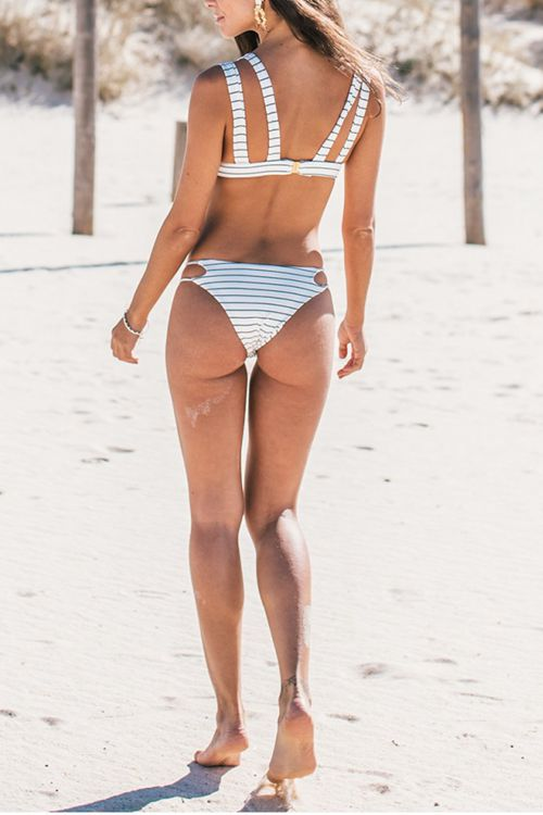 Striped Print White Bikini Set
