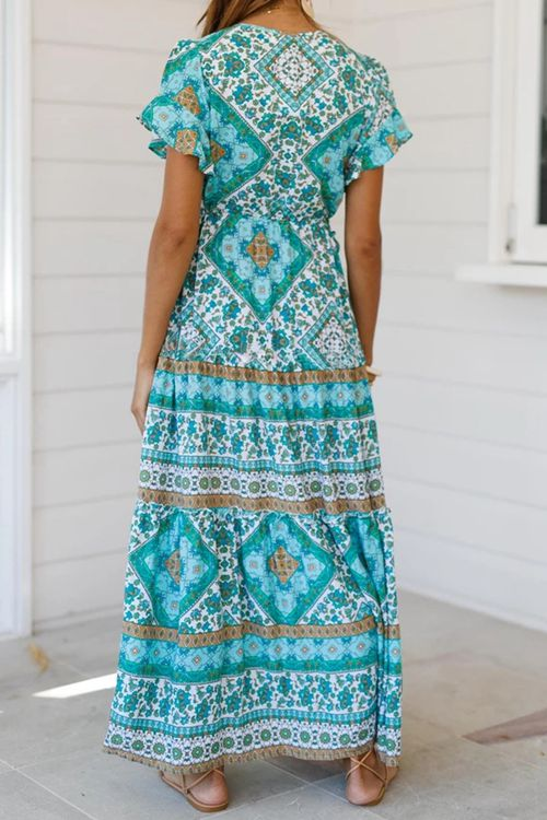 Flounce Design Green Ankle Length Maxi Dress