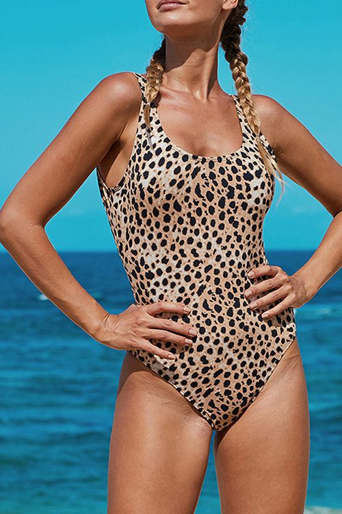 Leopard open back suspender one piece swimsuit
