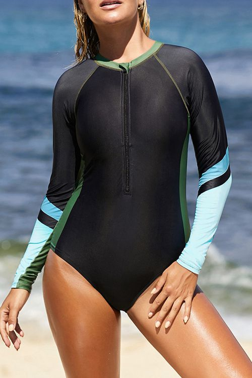 Long sleeve color blocking surf suit