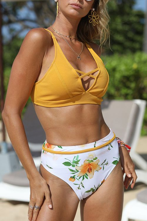 Yellow cross vest printed high waisted triangle swimsuit