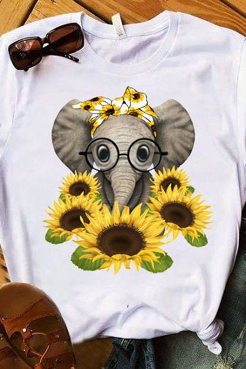 Sunflower elephant printed round neck T-shirt