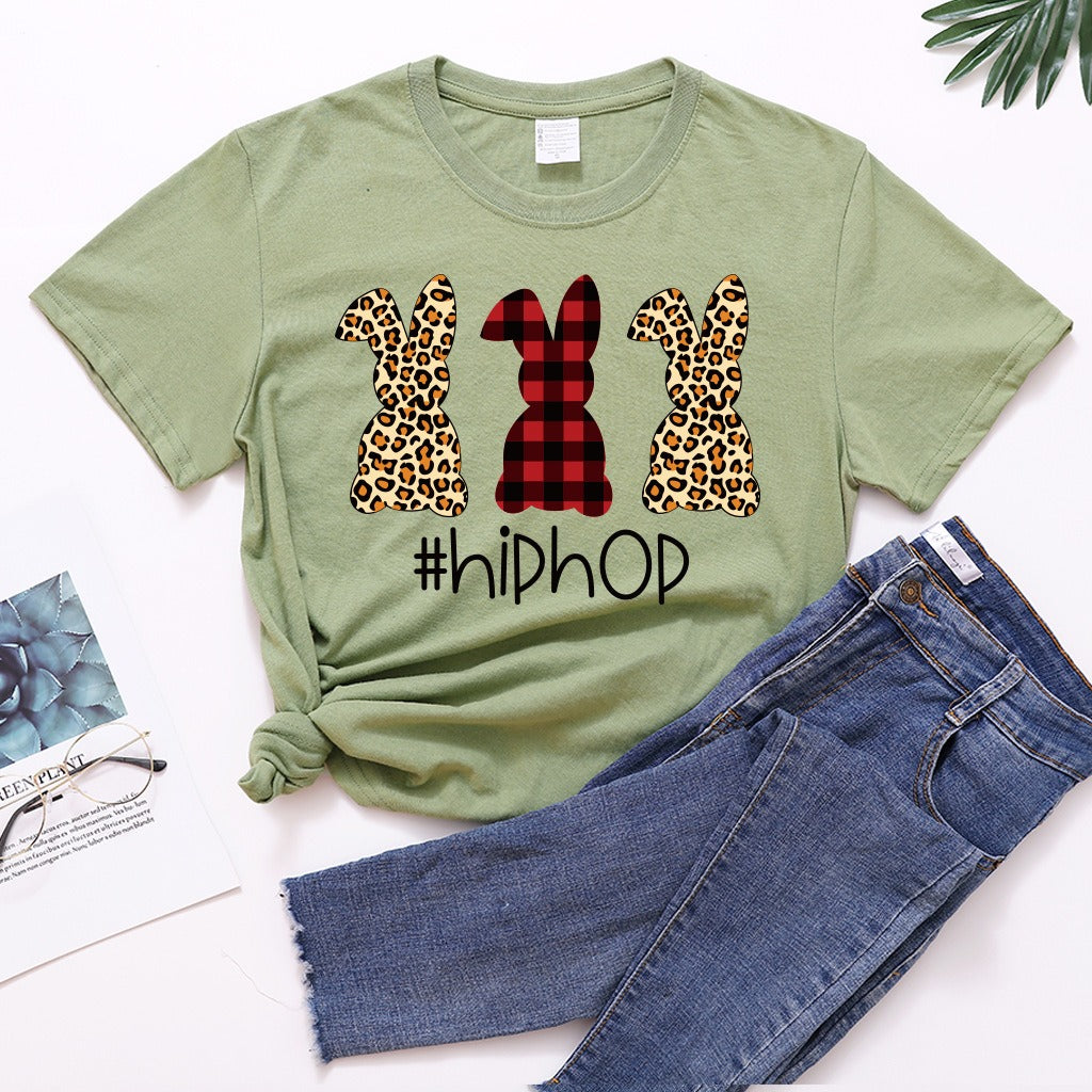 Leopard print rabbit round neck T-shirt