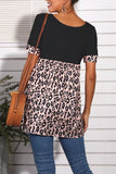 Leopard print short-sleeved T-shirt