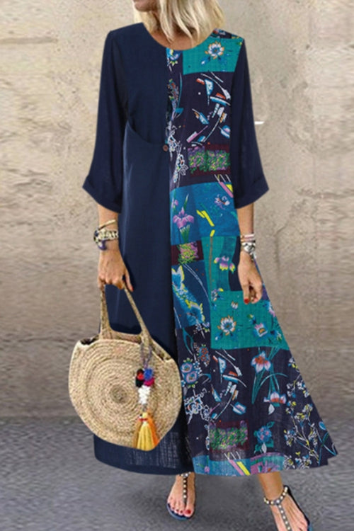 Loose patchwork print dress