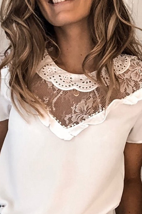 Round neck lace T-shirt