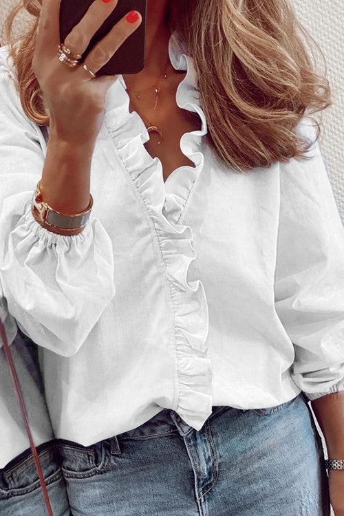 V-neck long sleeve shirt