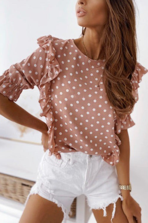 Round neck polka dot short sleeve shirt