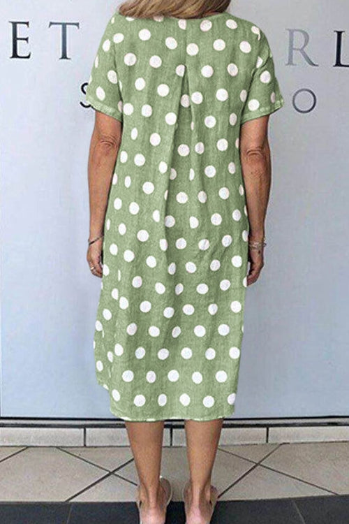 Short sleeved polka dot loose-fitting dress