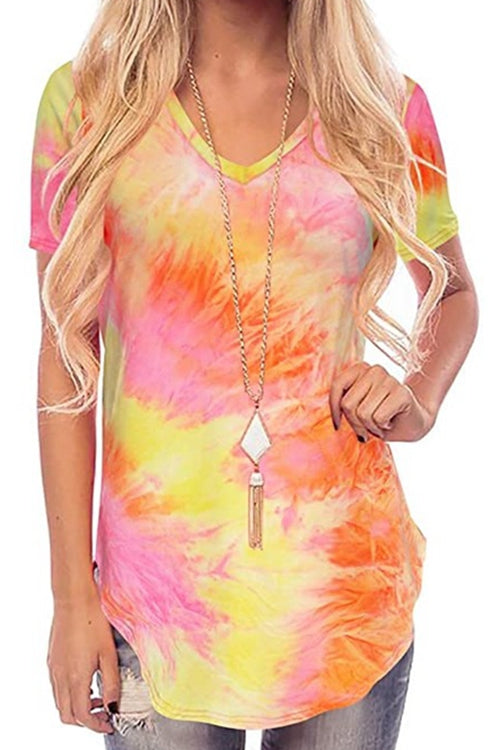 Tie-dye printed v-neck T-shirt