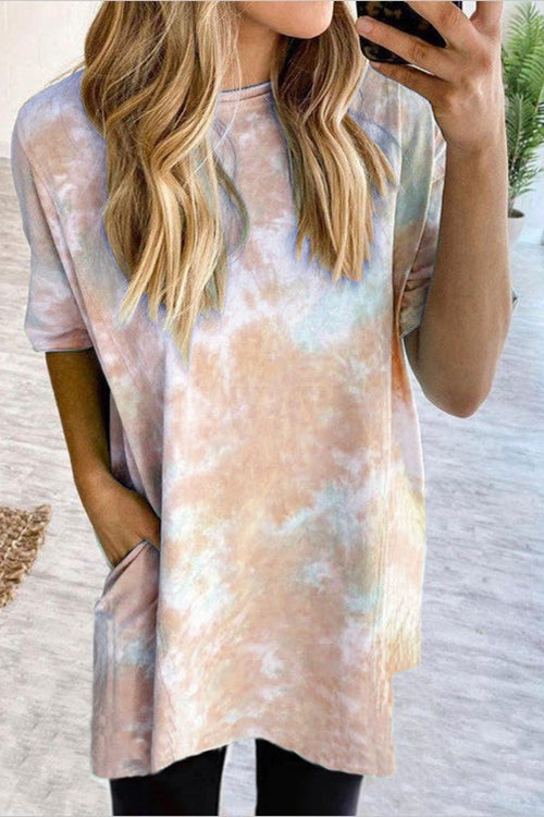 Gradient short sleeved loose-fitting dress