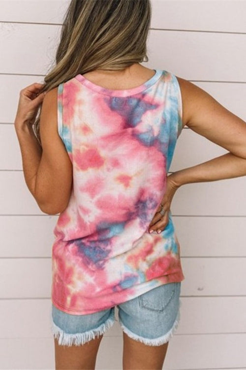Round collar and dyeing tank top