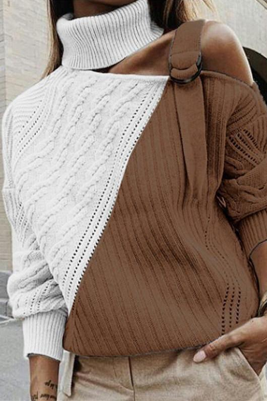 Turtleneck Patchwork Apricot Sweater(4 colors)