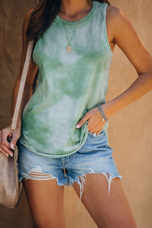 Stylish Printed Green Tank Top