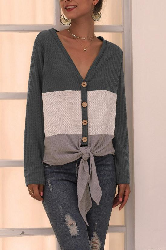 V Neck Patchwork Blue Sweater