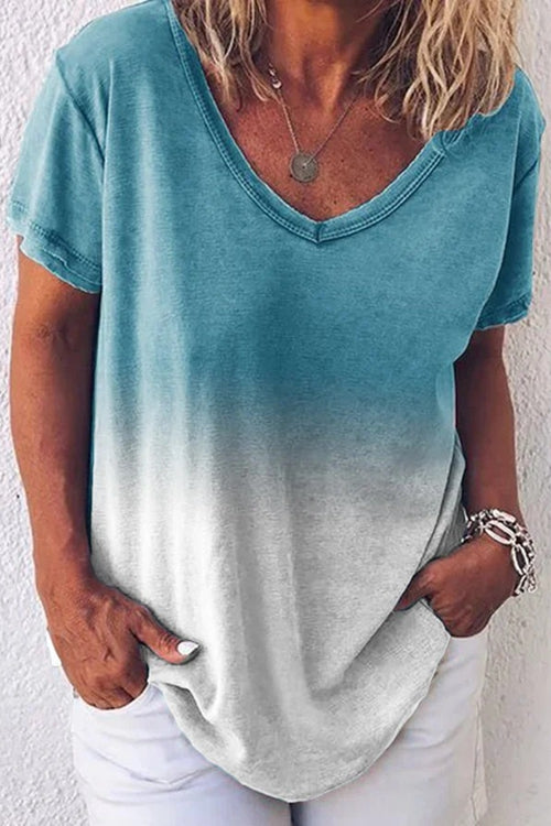 Short Sleeve Casual V Neck Dip-Dyed T-Shirts