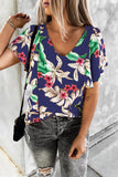 Print V Neck Loose T Shirt