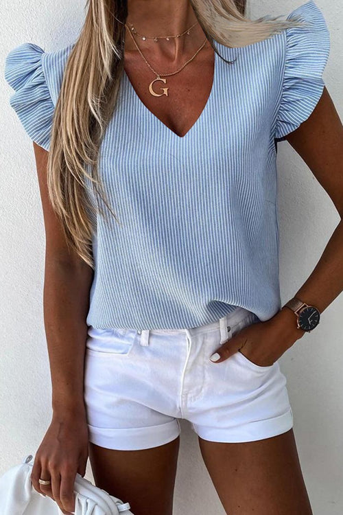 Striped Ruffles Casual Top Shirt