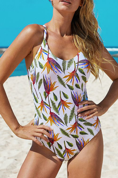 Sexy open back printed one piece swimsuit