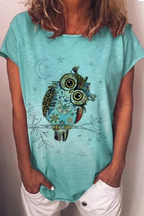 Casual Round Neck Printed Owl T-Shirt