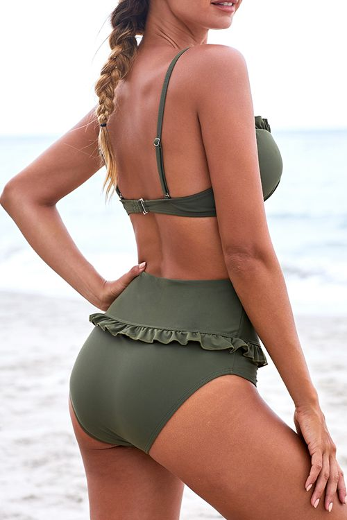 High waist split swimsuit with steel bracket